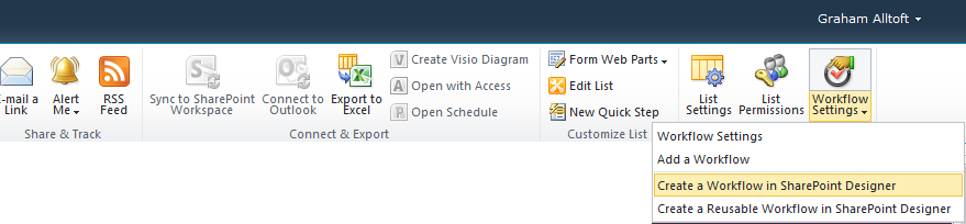 how to create a workflow in sharepoint designer 2010